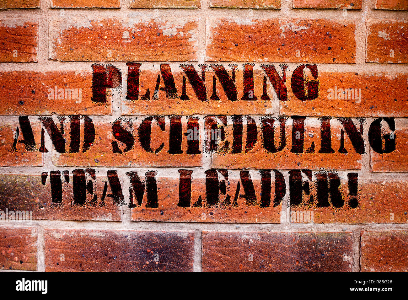 Conceptual hand writing showing Planning And Scheduling Team Leader. Business photo text Project analysisagement business leadership - Stock Image