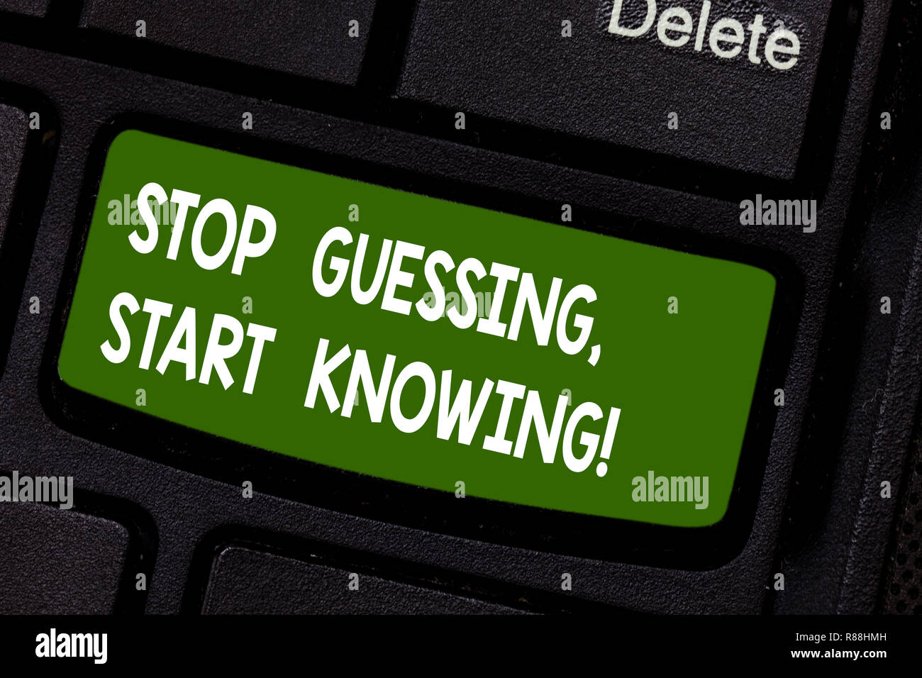 Text sign showing Stop Guessing Start Knowing. Conceptual photo Do not guess get the knowledge to be sure Keyboard key Intention to create computer me - Stock Image