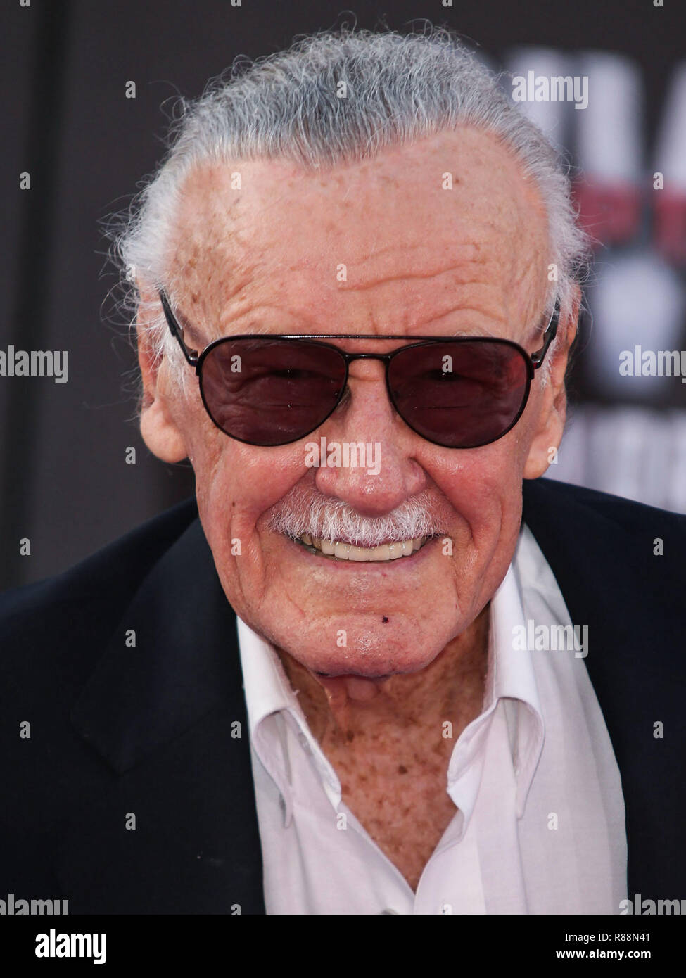 (FILE) Stan Lee Dies At 95. Stan Lee, the legendary writer, editor and publisher of Marvel Comics whose fantabulous but flawed creations made him a real-life superhero to comic book lovers everywhere, has died. He was 95. Lee, who began in the business in 1939 and created or co-created Black Panther, Spider-Man, the X-Men, the Mighty Thor, Iron Man, the Fantastic Four, the Incredible Hulk, Daredevil and Ant-Man, among countless other characters, died early Monday morning at Cedars-Sinai Medical Center in Los Angeles, a family representative told The Hollywood Reporter. LOS ANGELES, CA, USA - A - Stock Image