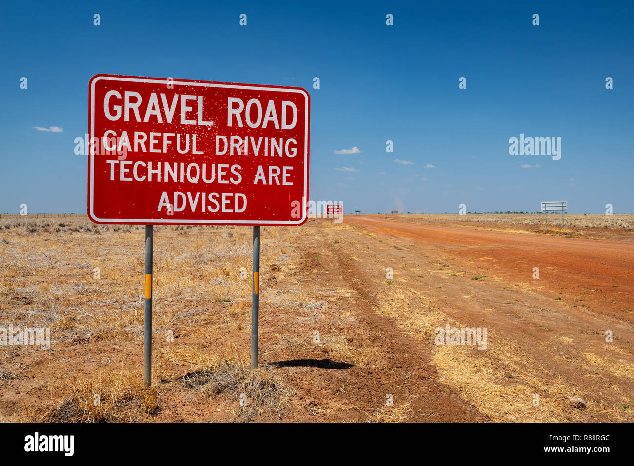 Road Sign at Calvert Road in the remote Barkly Tableland. Stock Photo