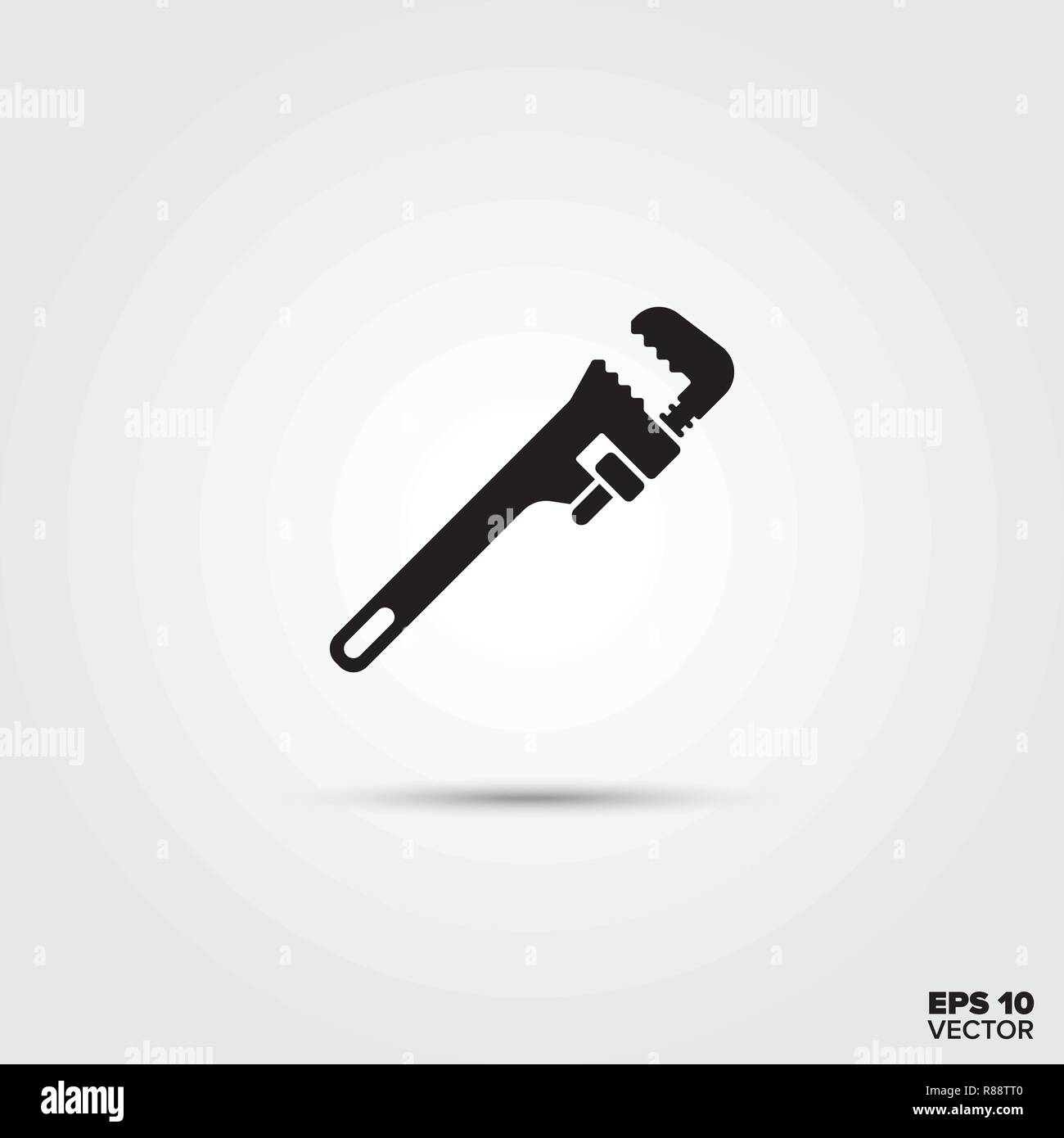 Adjustable wrench vector glyph icon - Stock Vector