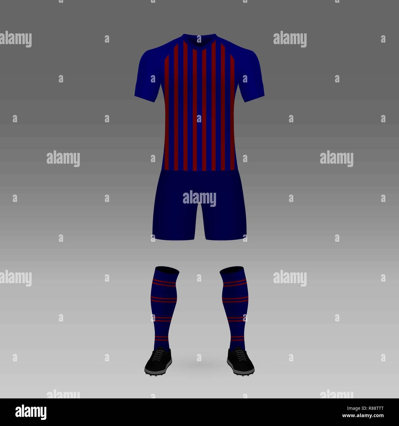 football kit Barcelona, shirt template for soccer jersey. Vector illustration - Stock Image
