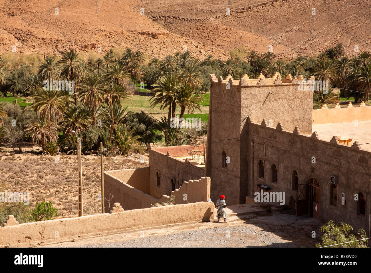 Morocco, Ziz River Gorge, Guers Tiallaline, Kasbah style guest house Stock Photo