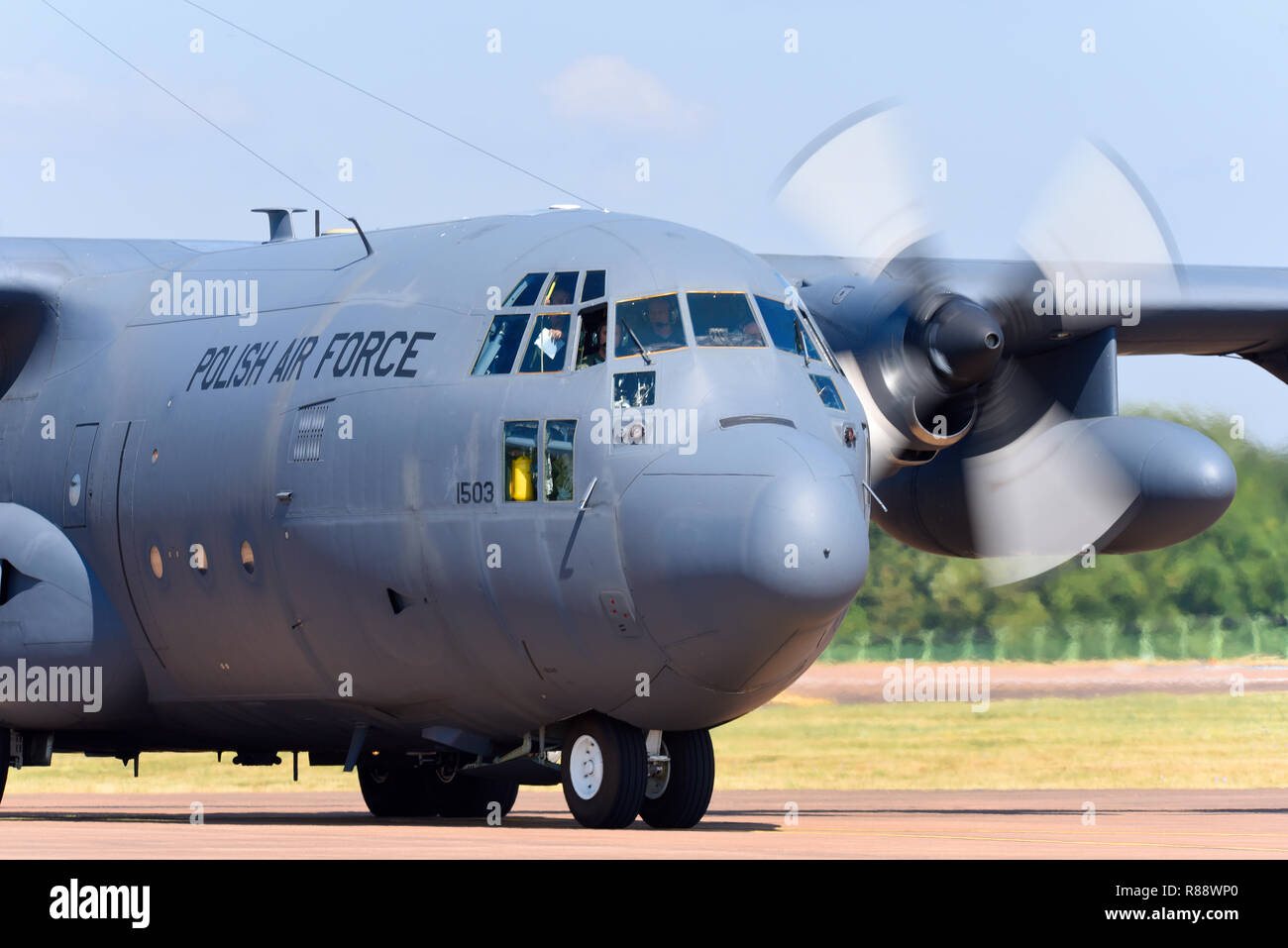 Polish Air Force Lockheed C-130 Hercules transport plane at the Royal International Air Tattoo, RIAT, RAF Fairford airshow. C-130E version Stock Photo