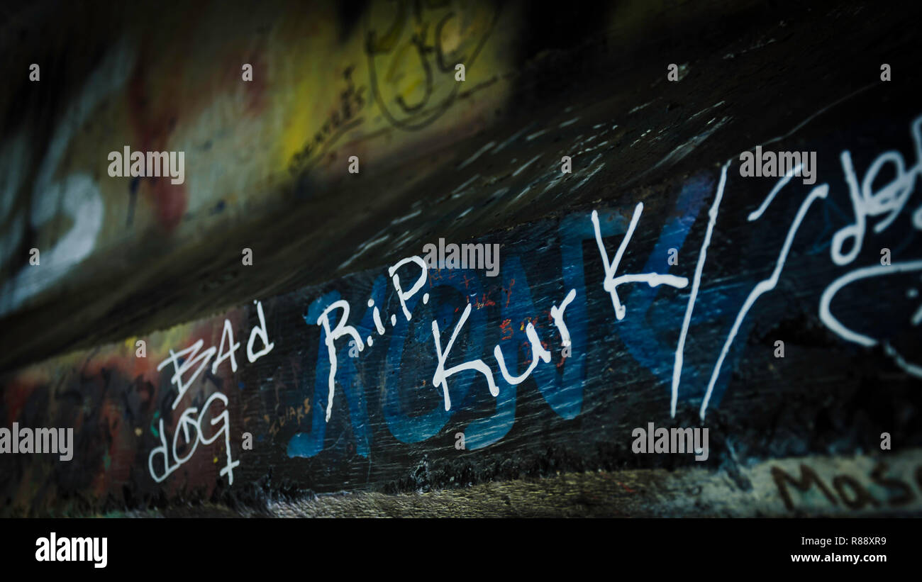 R.I.P Kurk, graffitti for Kurt Cobain at the bridge over the Wishkah river - Stock Image