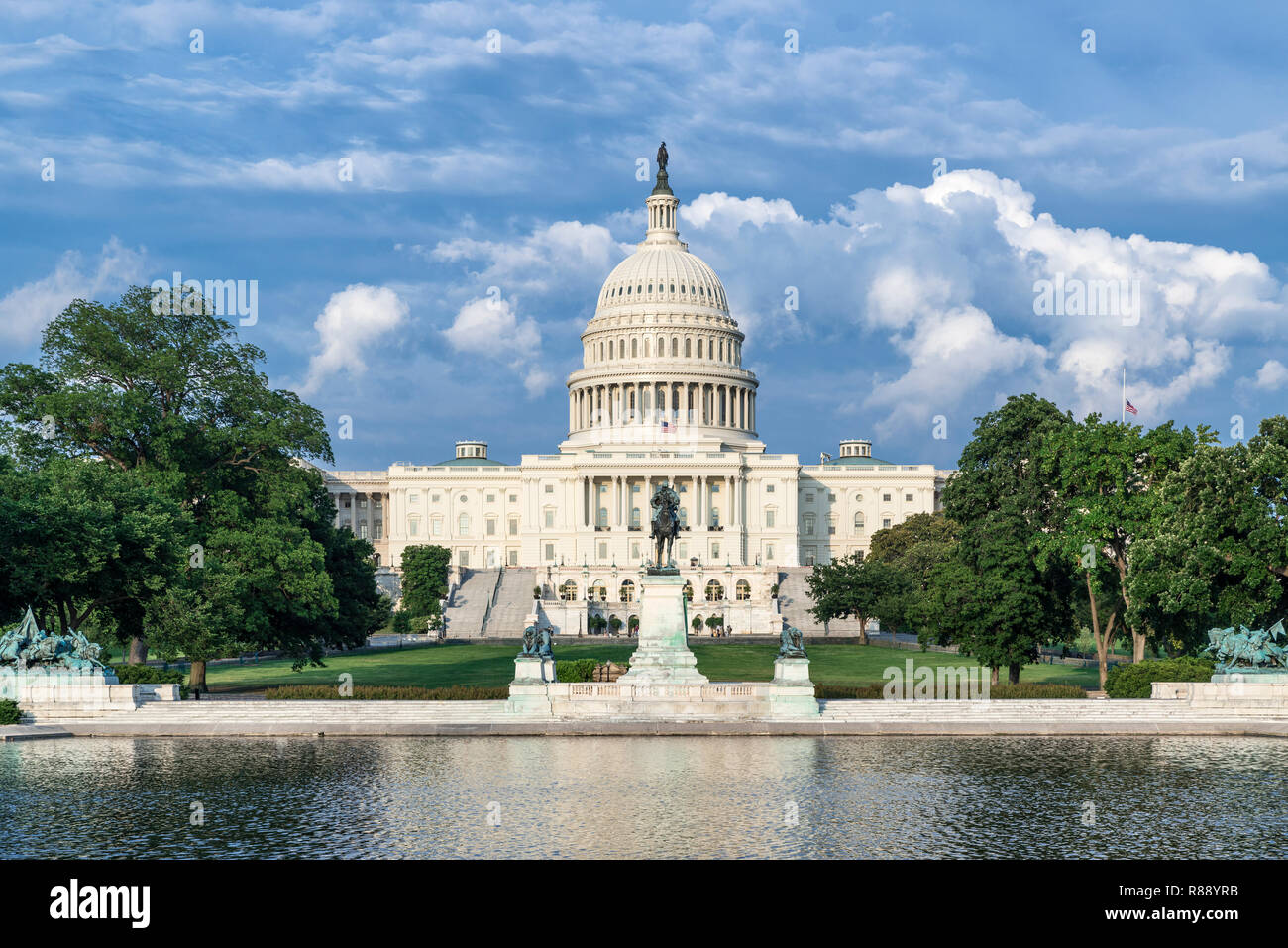 Reflecting pool, Ulysses S. Grant Memorial and US Capitol Building, Washington D.C., USA. Stock Photo