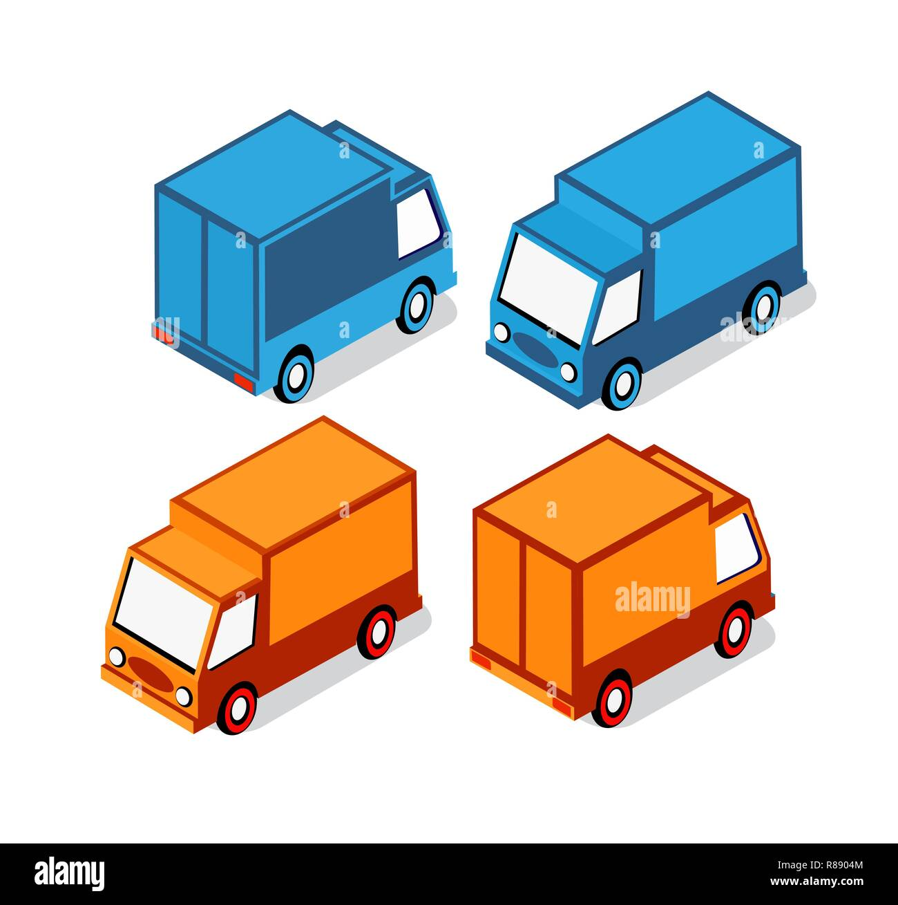 Isometric set cars and trucks transport infrastructure of the town Stock Vector
