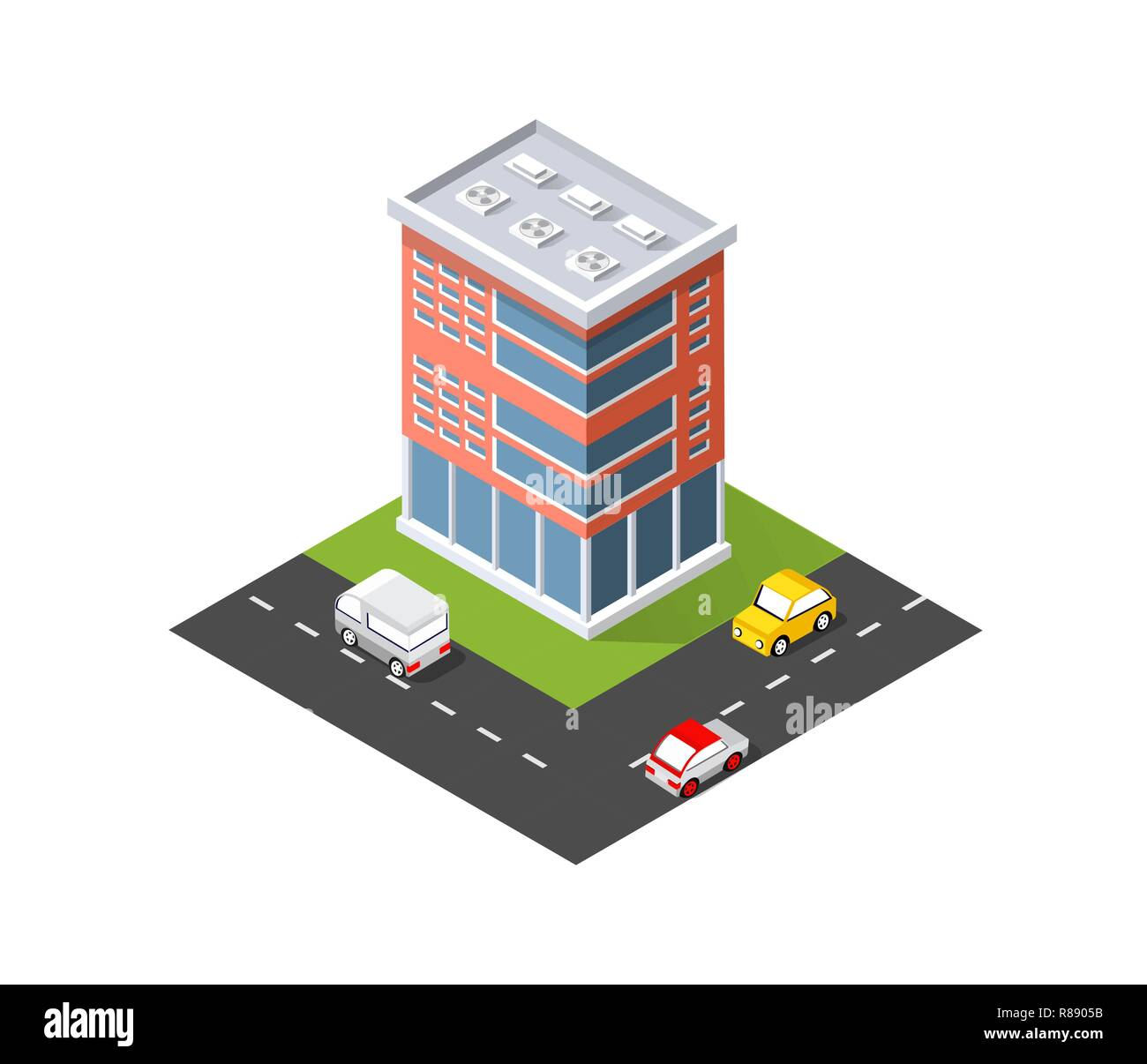 District of the city street houses Isometric infrastructure, urban buildings and construction Stock Vector