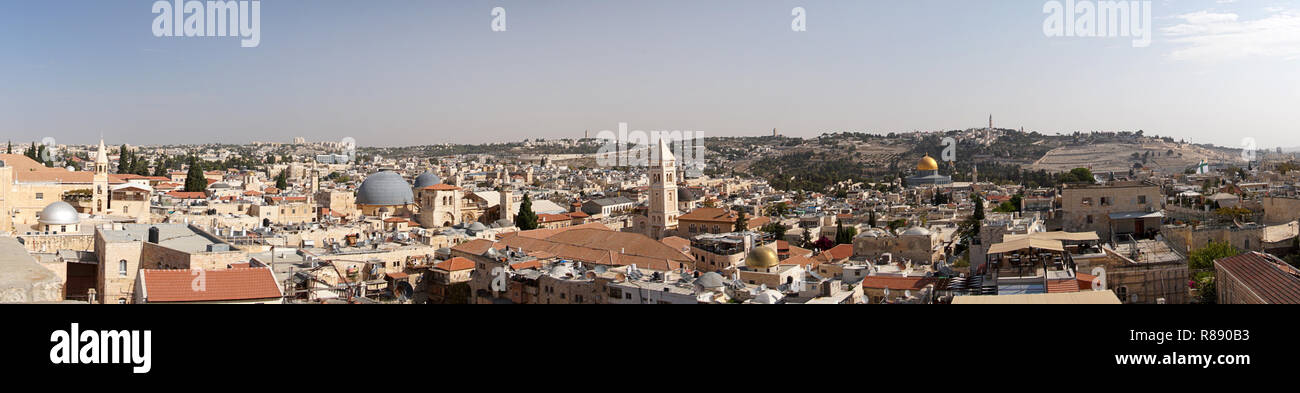 Panorama of the city from the top of Damascus Gate, including the Muslim and Christian Quarters, Jerusalem, Israel - Stock Image