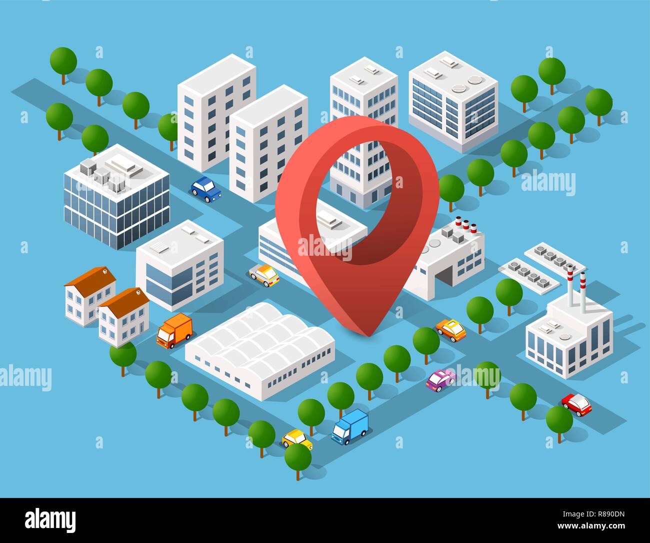 Urban area of the city infrastructure with pin destination, transport, streets, houses and trees - Stock Vector