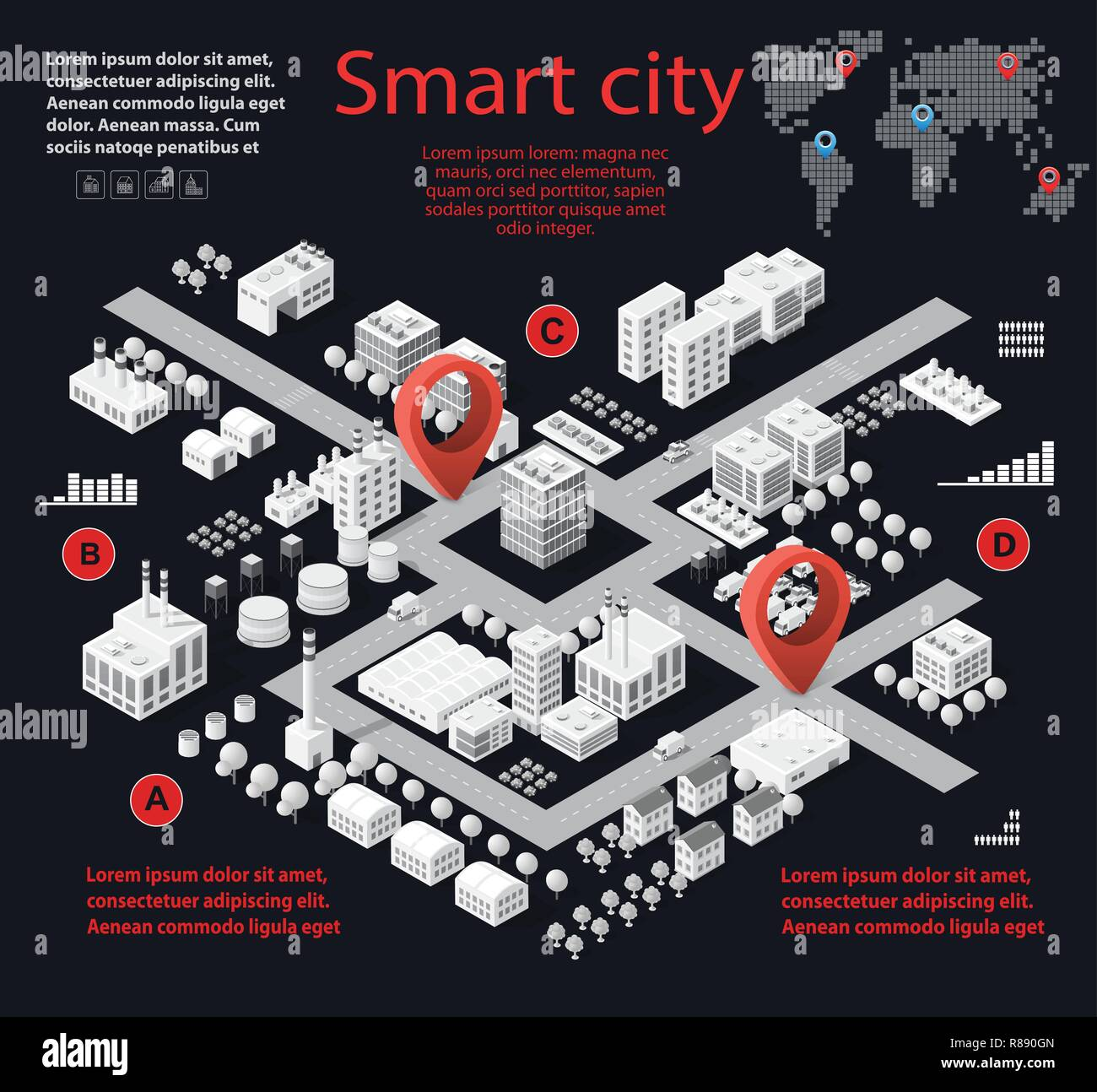 Smart city isometric infographics with skyscrapers, buildings and roads. Concept of urban development and statistics in graphic illustrations Stock Vector