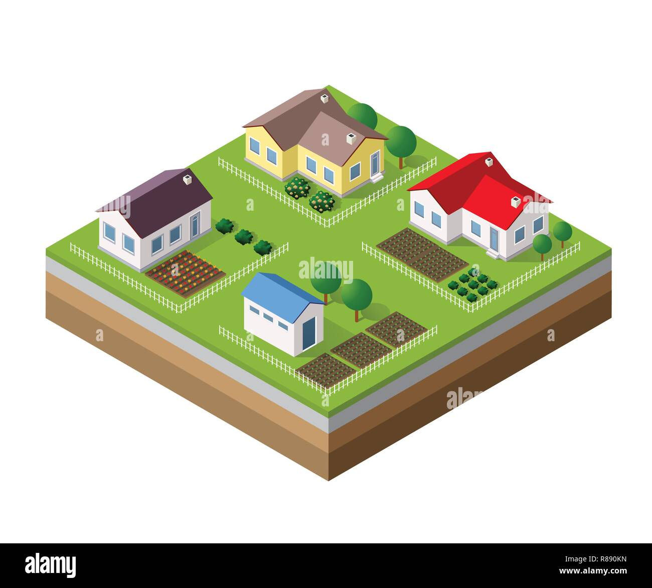 Farm set of houses in isometric style - Stock Image