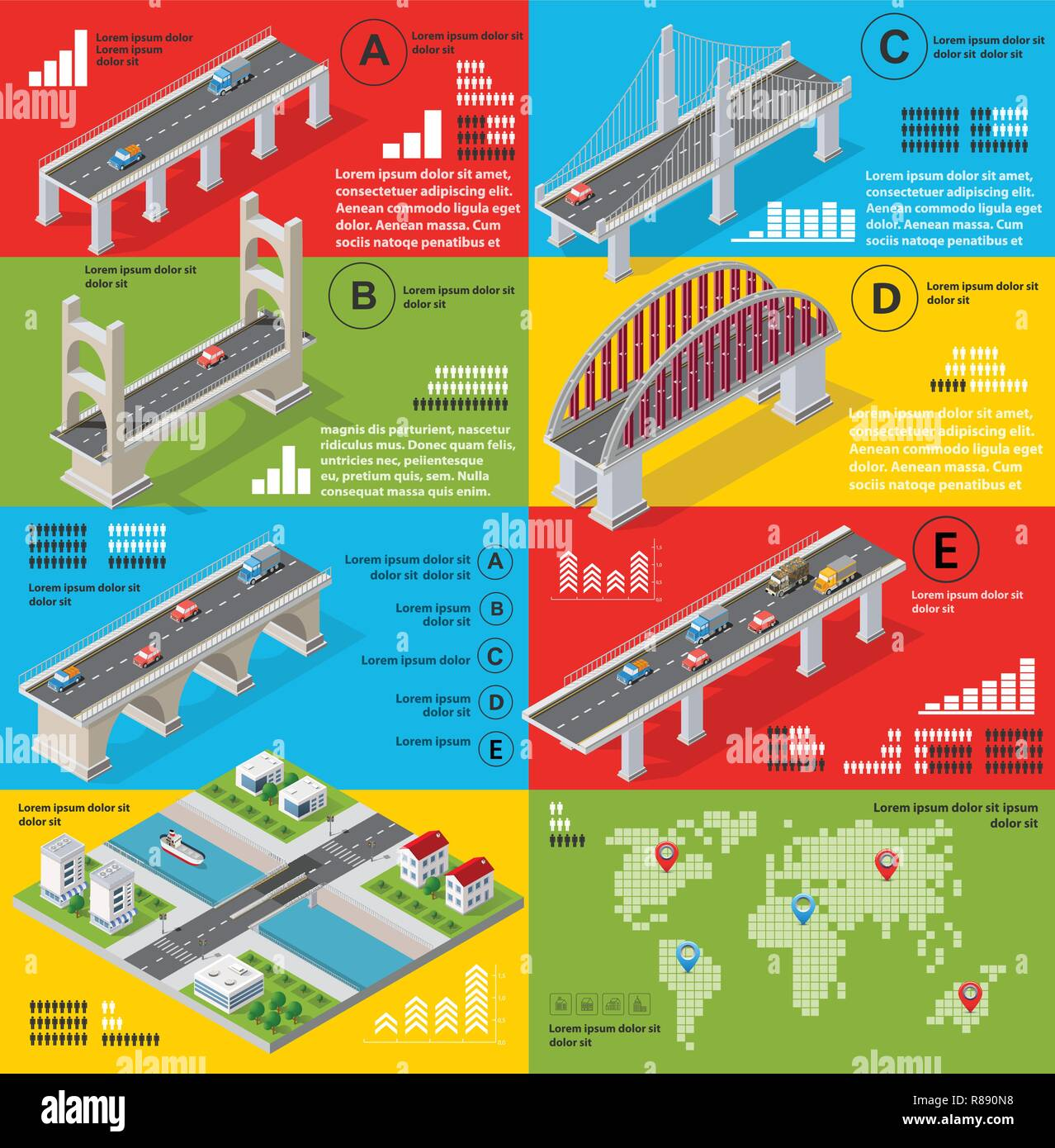 Infographics of bridges in the field of industrial construction and heavy industry. Template for presentation and design - Stock Vector