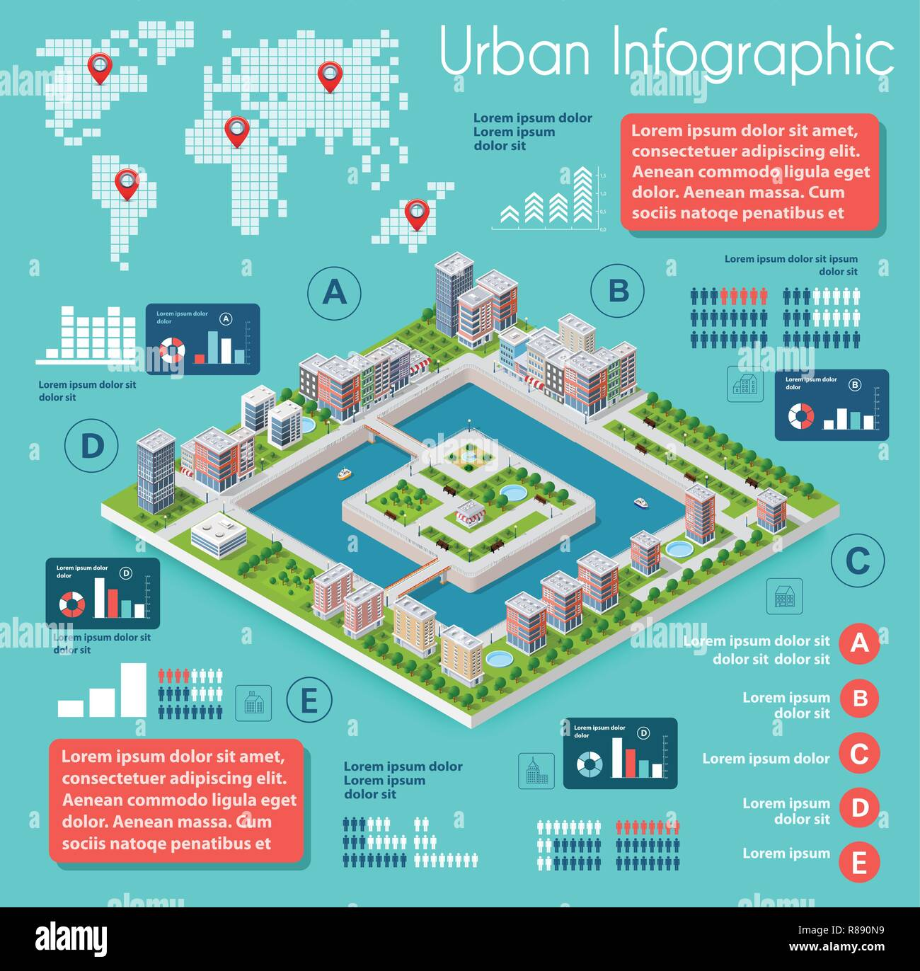 Infographics of urban infrastructure in the field of industrial construction and heavy industry. Template for presentation and design - Stock Vector