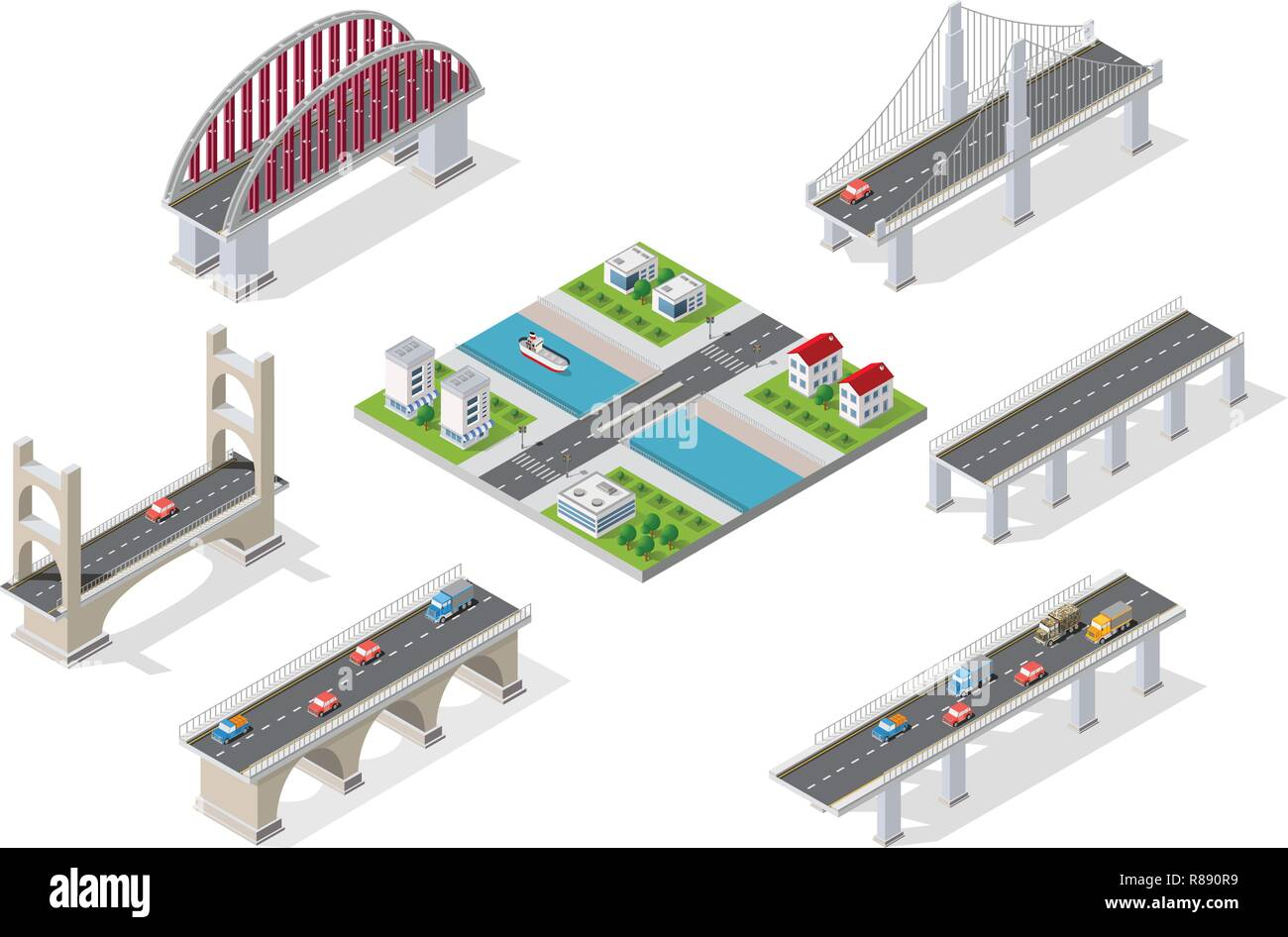 Bridges in the field of industrial construction and heavy industry. Template for presentation and design - Stock Vector