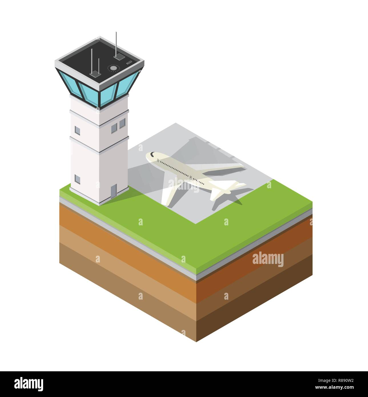 Airport runway control tower of transportation flights airport in the field of industrial construction and heavy industry. Template for presentation a - Stock Image