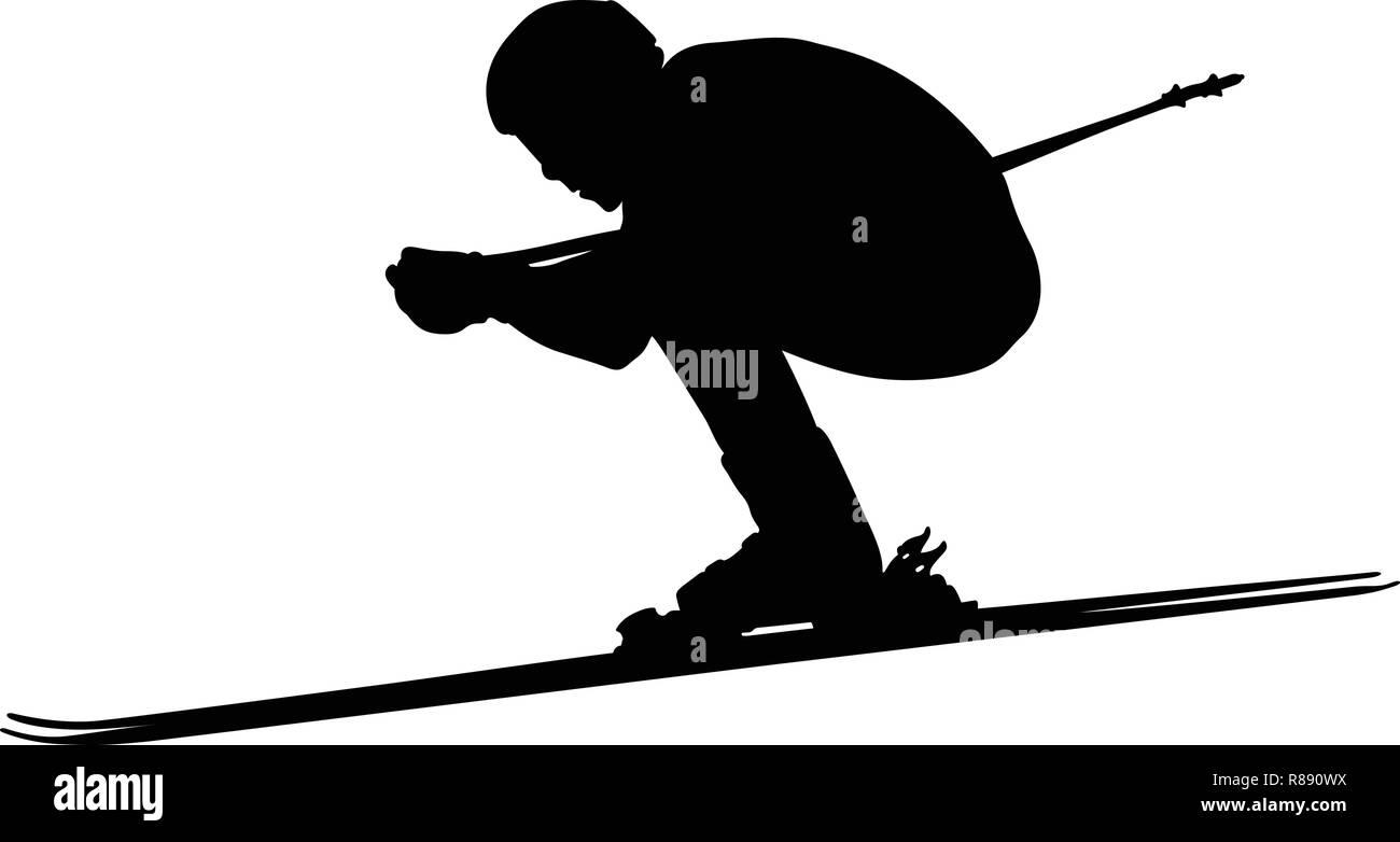 downhill skiing skier man athlete black silhouette - Stock Vector