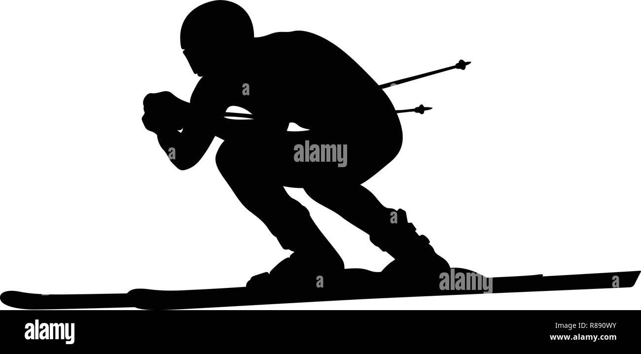 alpine skiing downhill skier athlete black silhouette - Stock Vector
