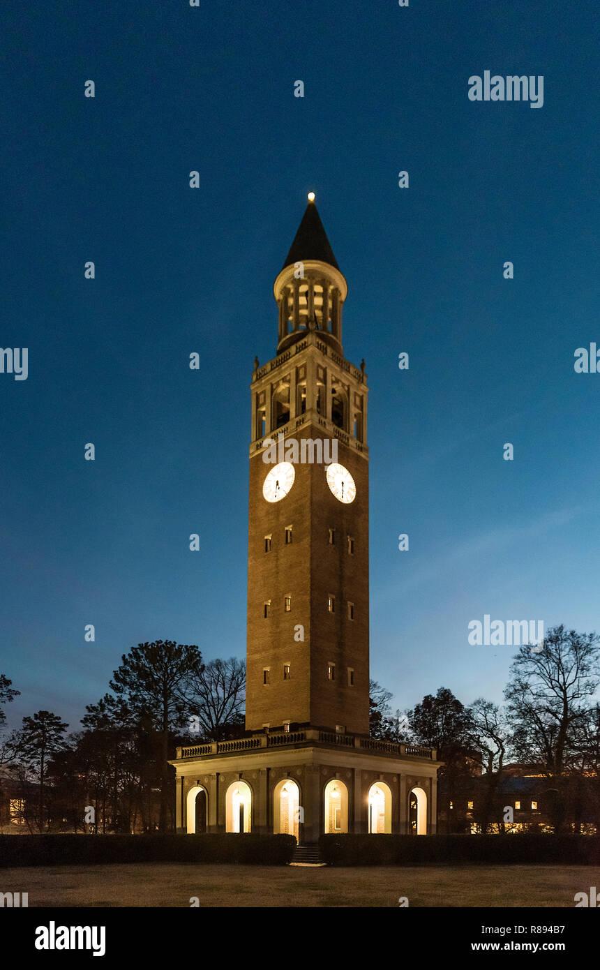 Belltower of University of North Carolina, Chapel Hill, North Carolina, USA. - Stock Image