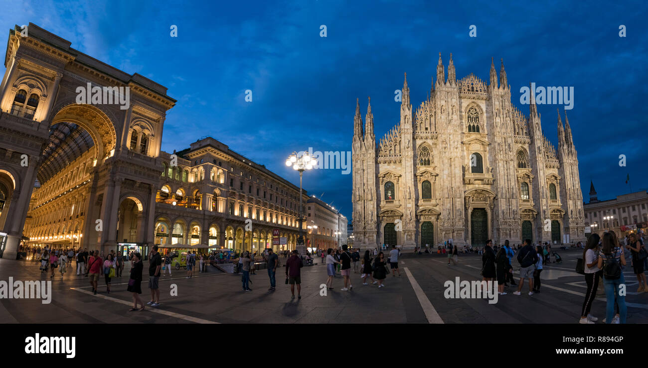 Horizontal Vertical Square view of at night in Milan, Italy. - Stock Image