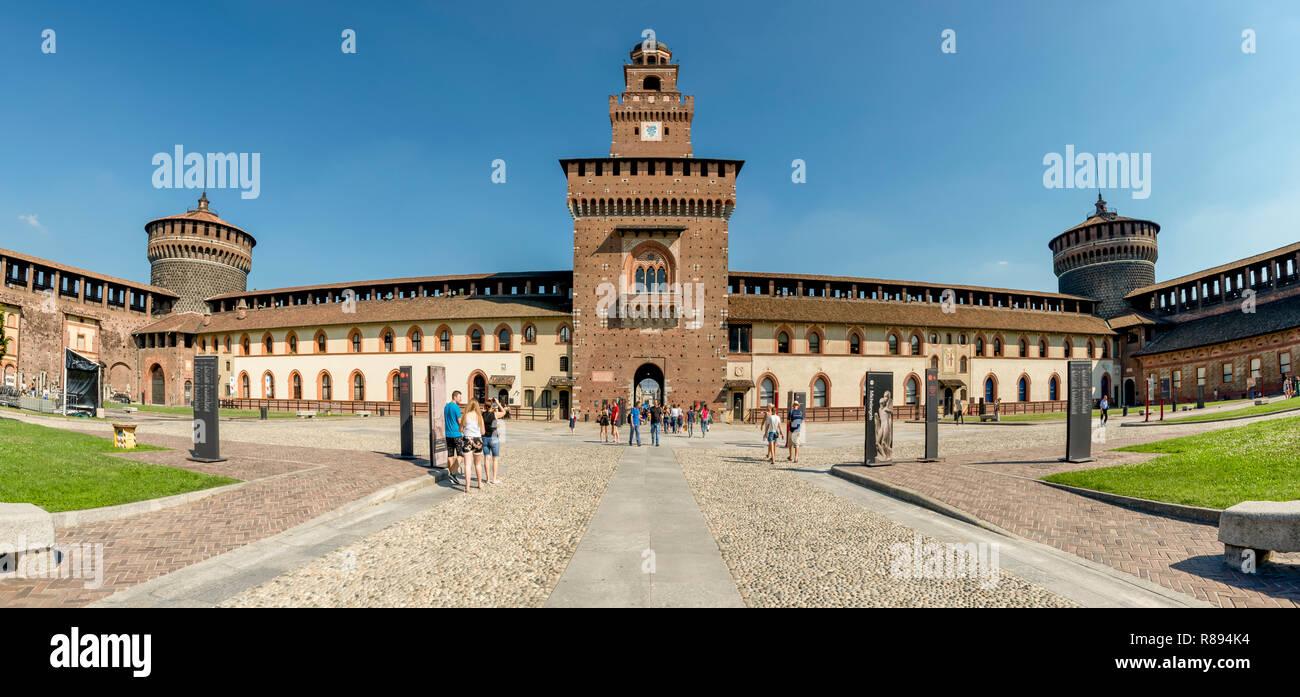 Horizontal view inside Sforza castle in Milan, Italy. - Stock Image