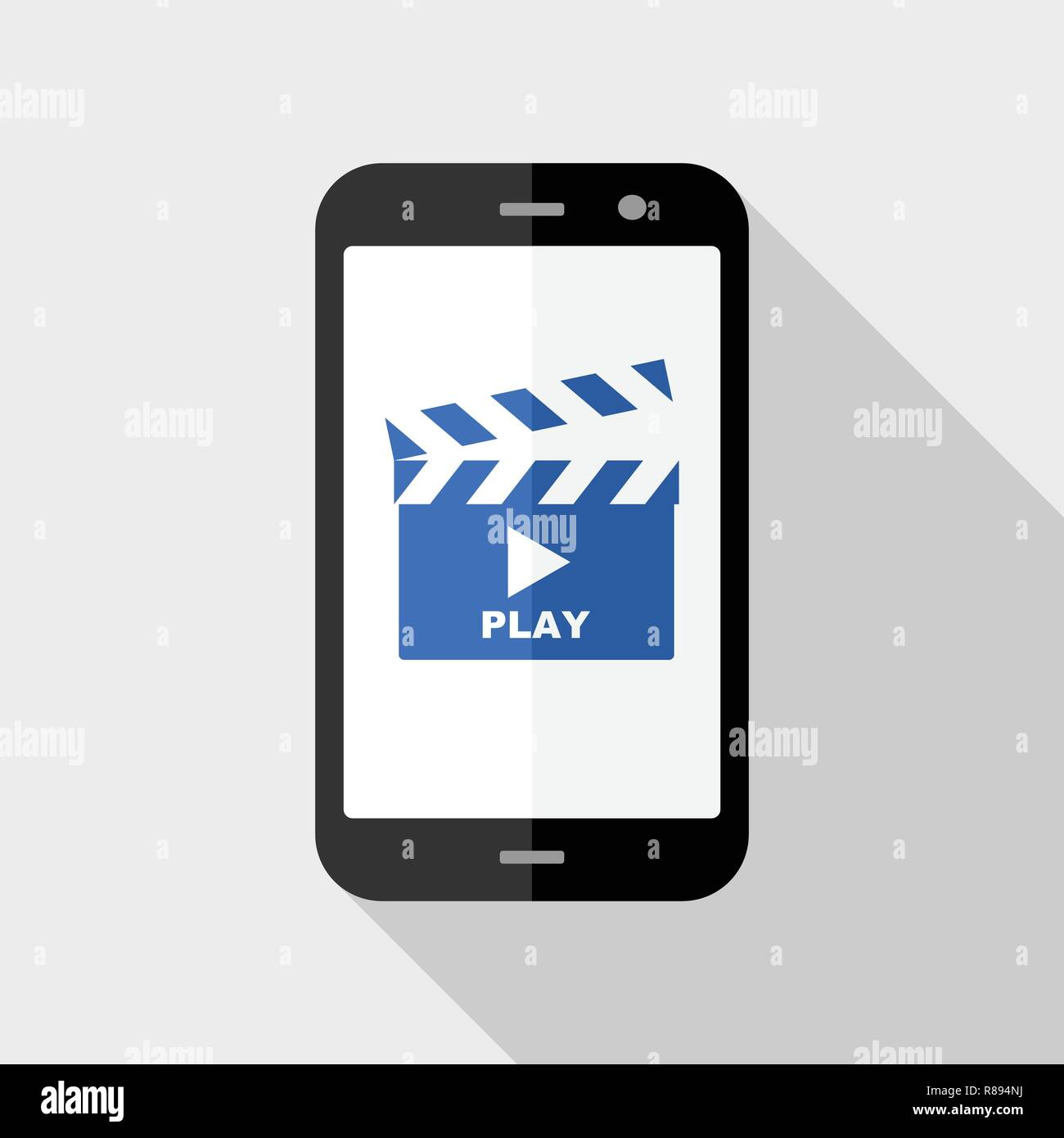 Smartphone with video player app on screen  Creative flat