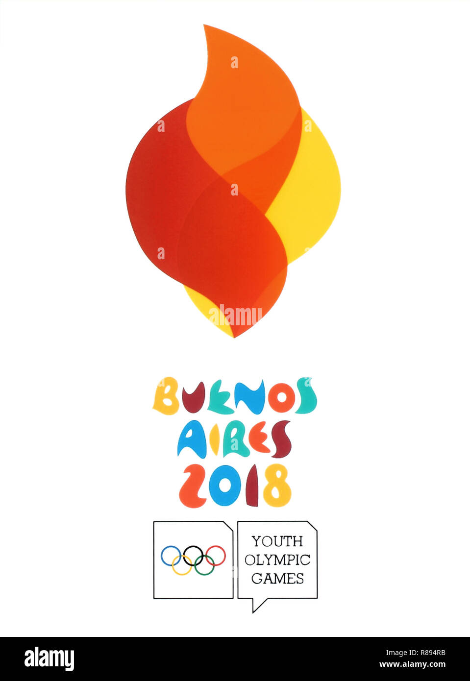 Kiev, Ukraine - August 16, 2018: Logo of Buenos Aires 2018 printed on paper, Summer Youth Olympic Games. It is a sport festival for teenagers. - Stock Image