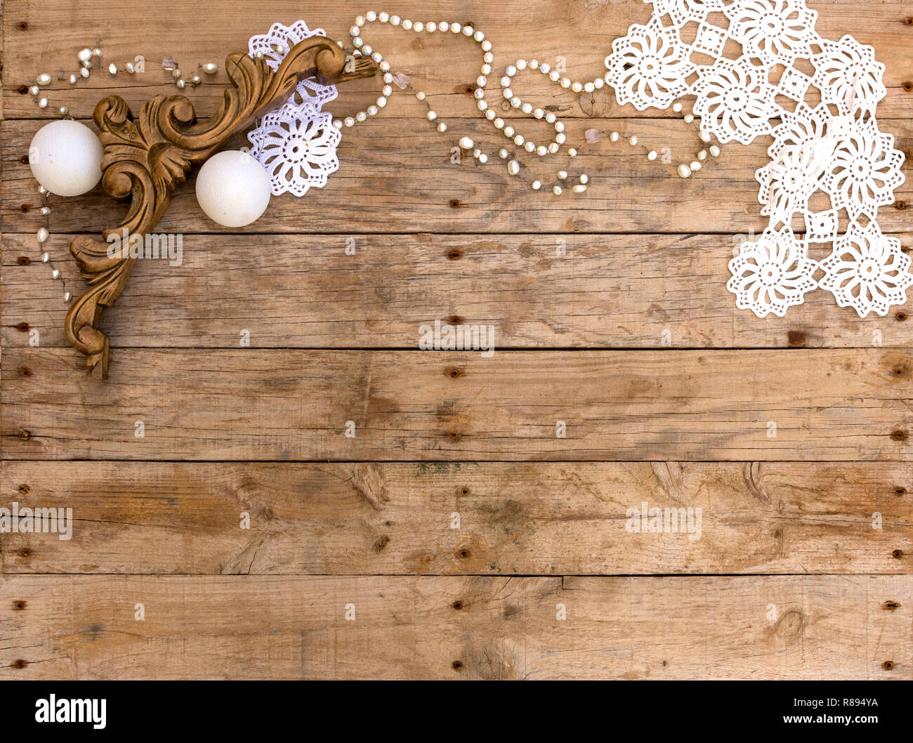 christmas postcard frame on wooden background for