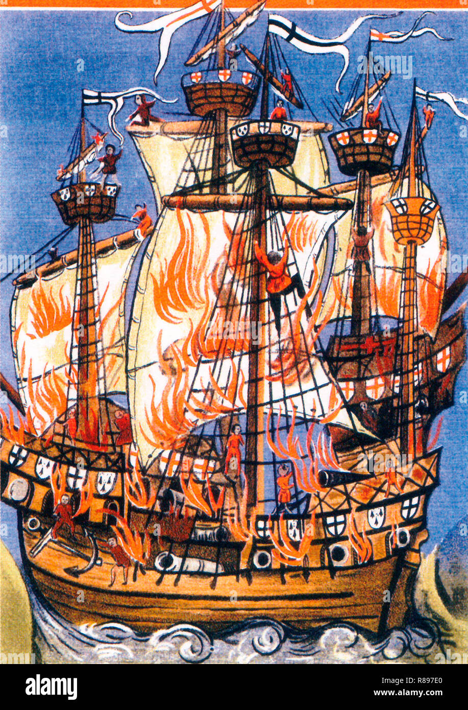 The French warship Cordelière and the English warship Regent ablaze at the battle of St. Mathieu on August 10 1512. Illustration for an epic poem in Latin written by the court poet Germain de Brie. - Stock Image