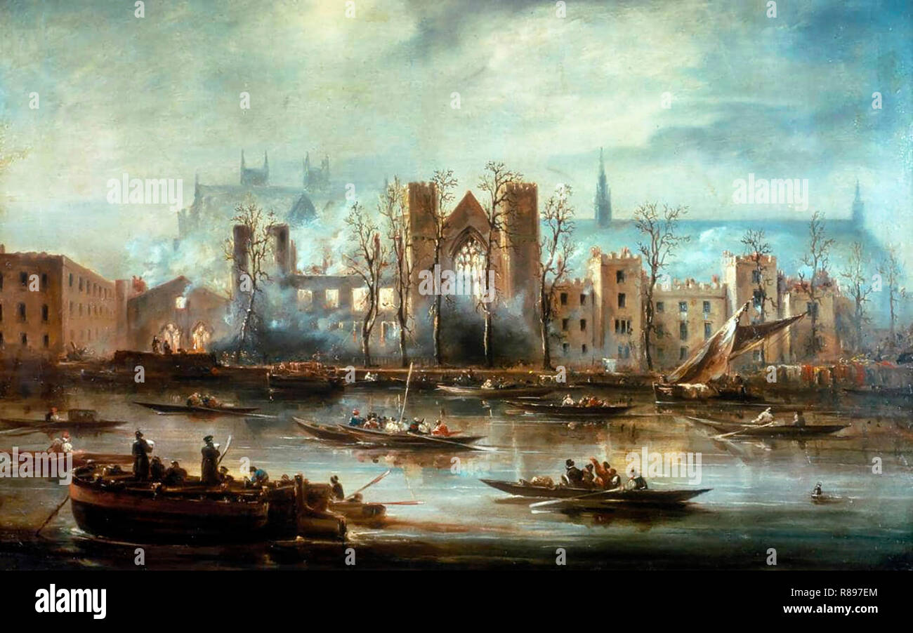 The Palace of Westminster from the River after the Fire of 1834 - Stock Image
