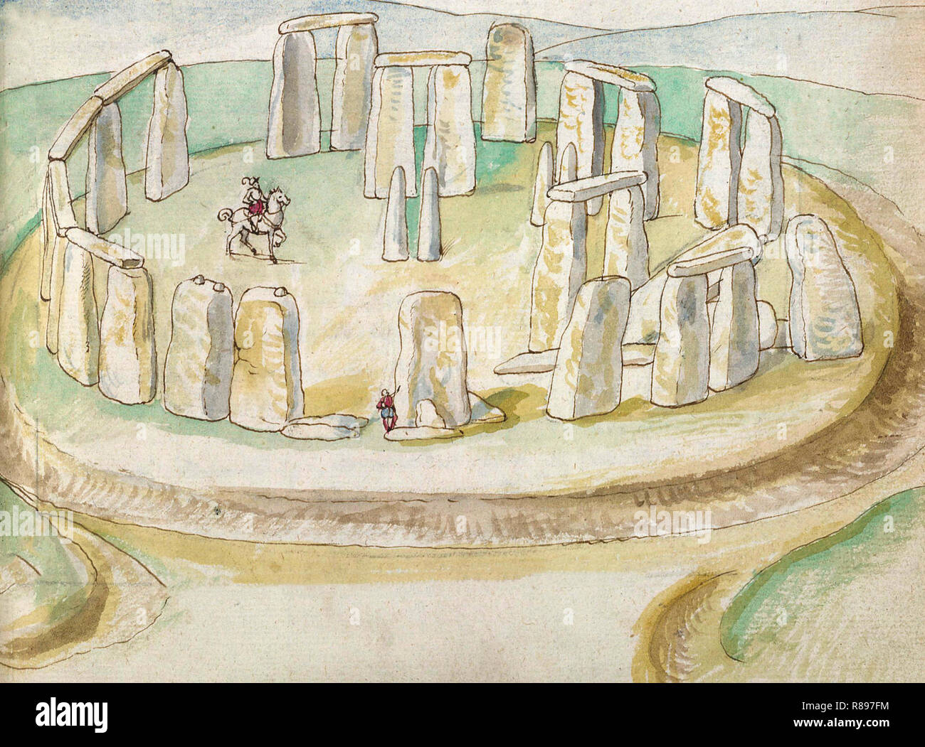 First realistic Painting of Stonehenge, painted with watercolors by Lucas de Heere, circa 1575 - Stock Image