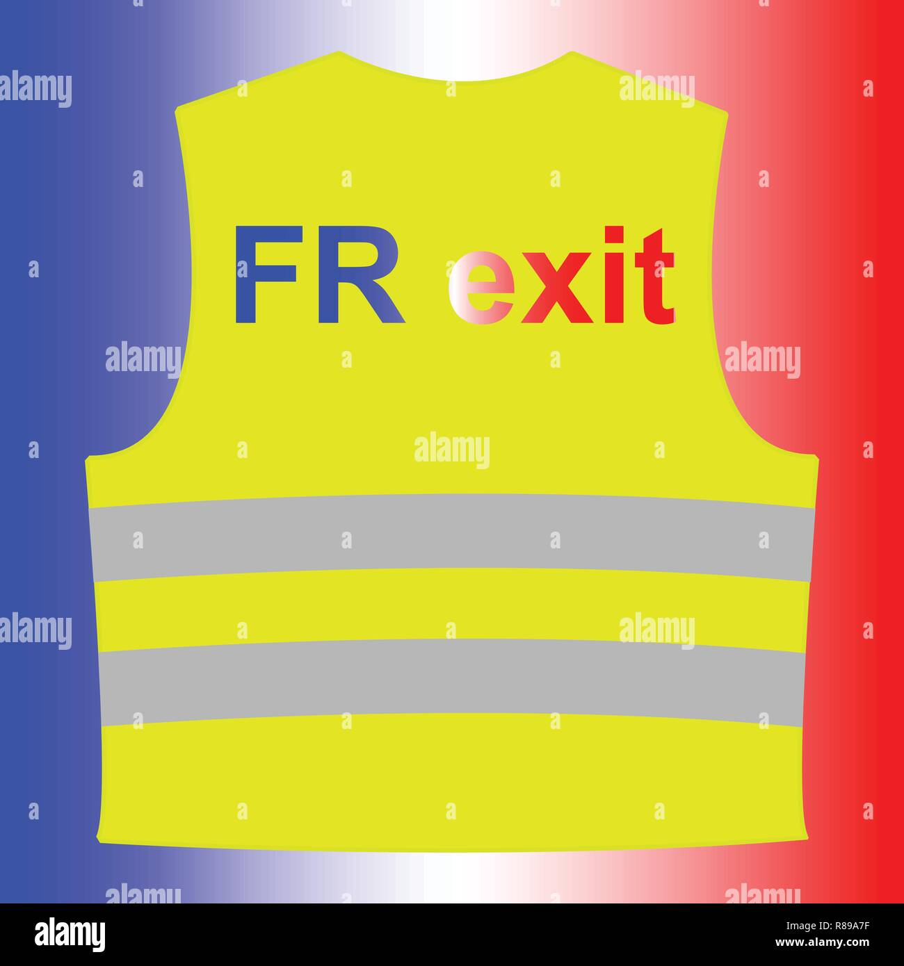 Gilet jaune with text FR exit written on it and with the flag of France as background - Stock Image