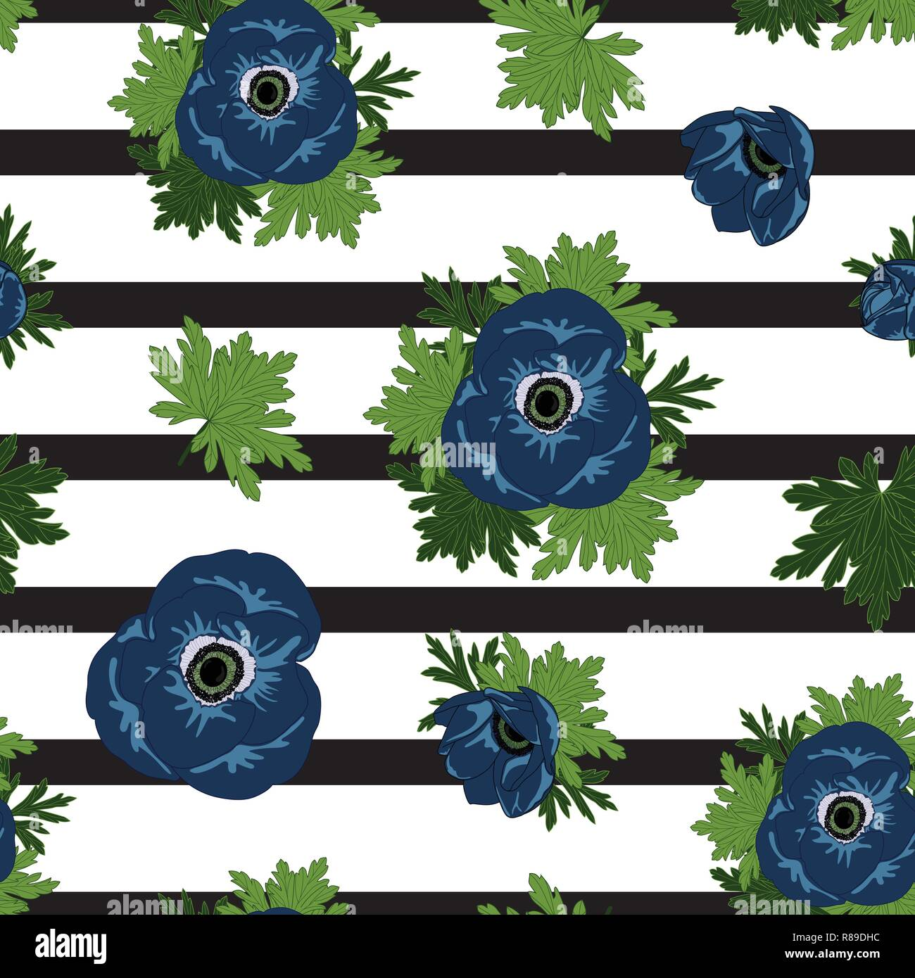 blue anemone vector seamless pattern on stripped background . - Stock Vector