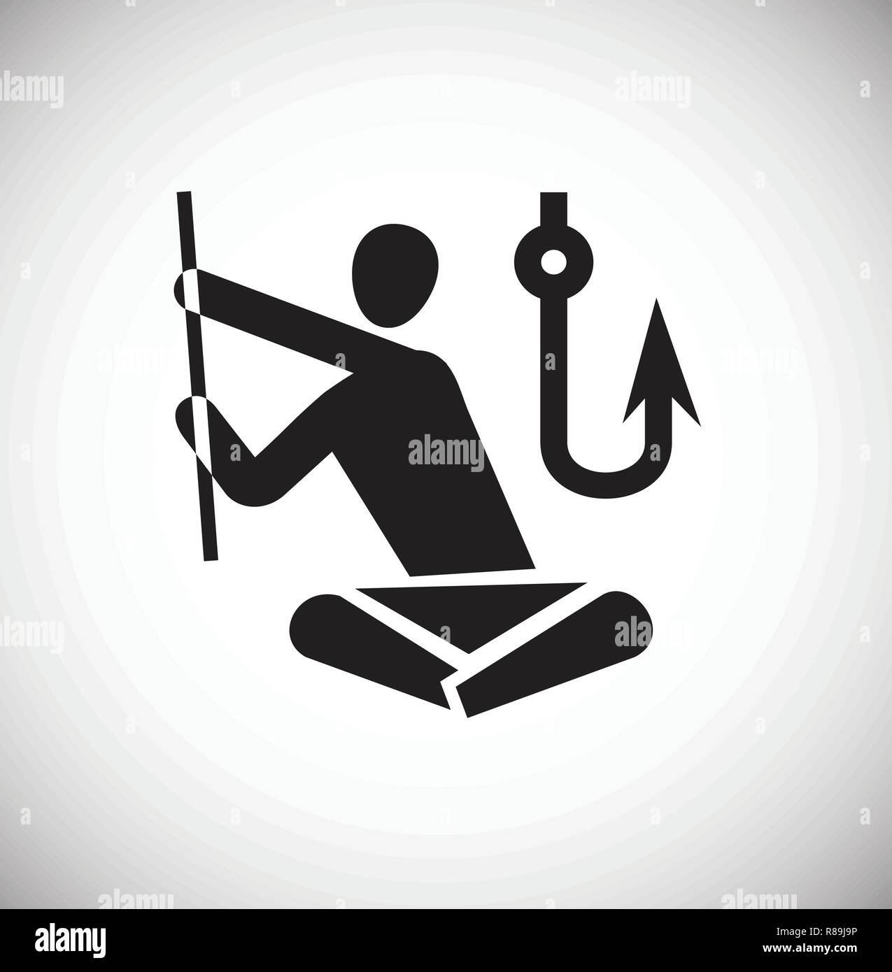 Campsite fishing icon on white background for graphic and web design, Modern simple vector sign. Internet concept. Trendy symbol for website design we - Stock Vector