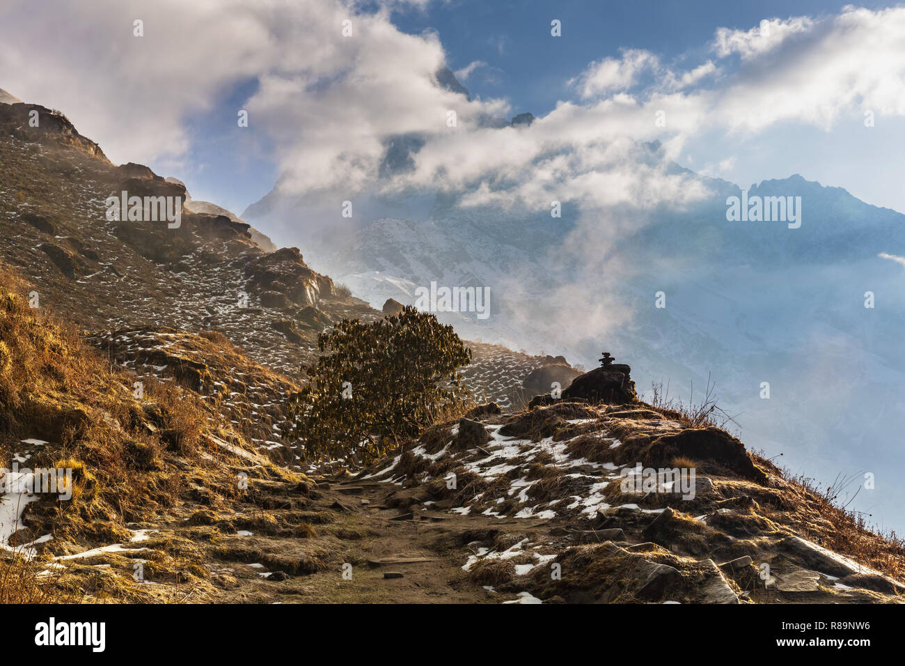 Hiking path on side of mountain in Annapurna Himal, Nepal, Himalayas, Asia - Stock Image
