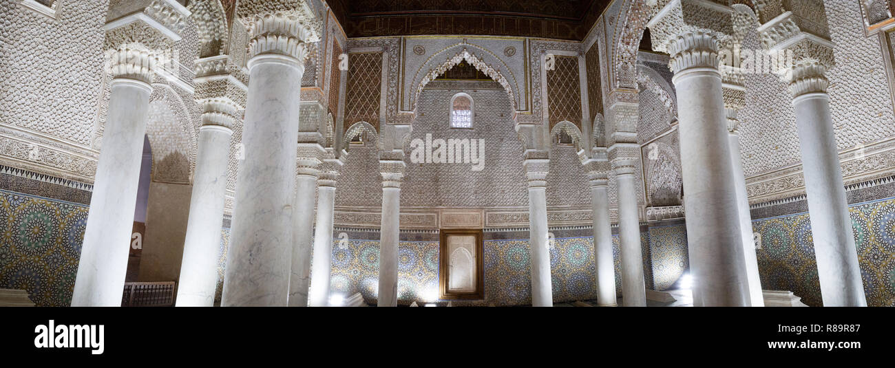 The Saadian Tombs, Marrakech - Panorama of the Hall of 12 columns, the Saadian Tombs, Marrakesh, Morocco North Africa - Stock Image