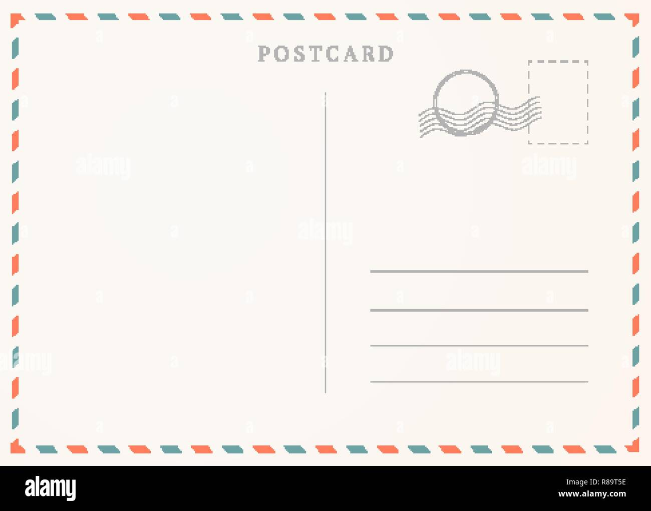 Vintage Postcard Template Postal Card Illustration For Design Stock
