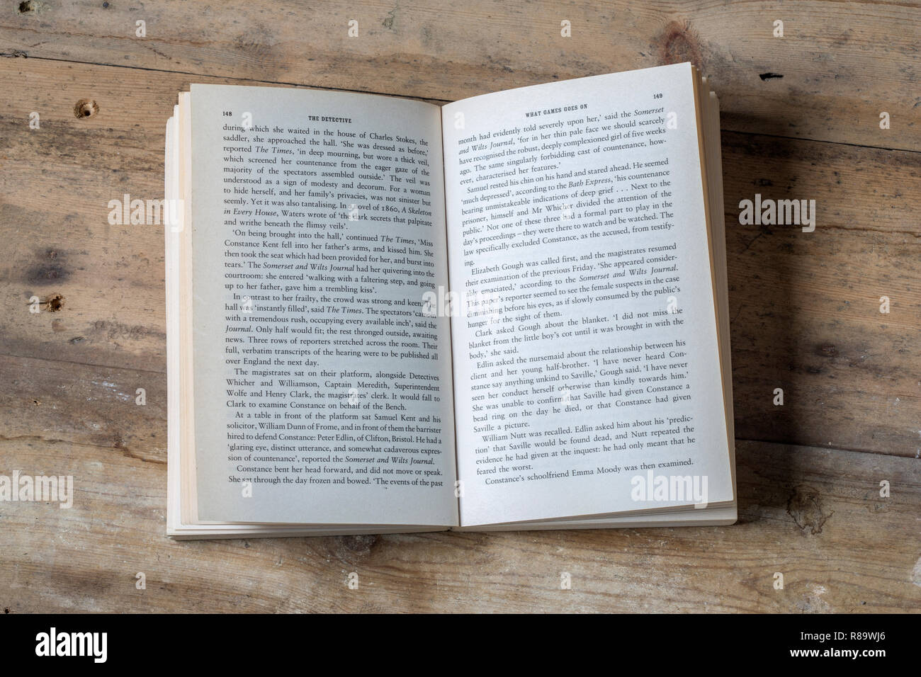 An open paperback book - Stock Image