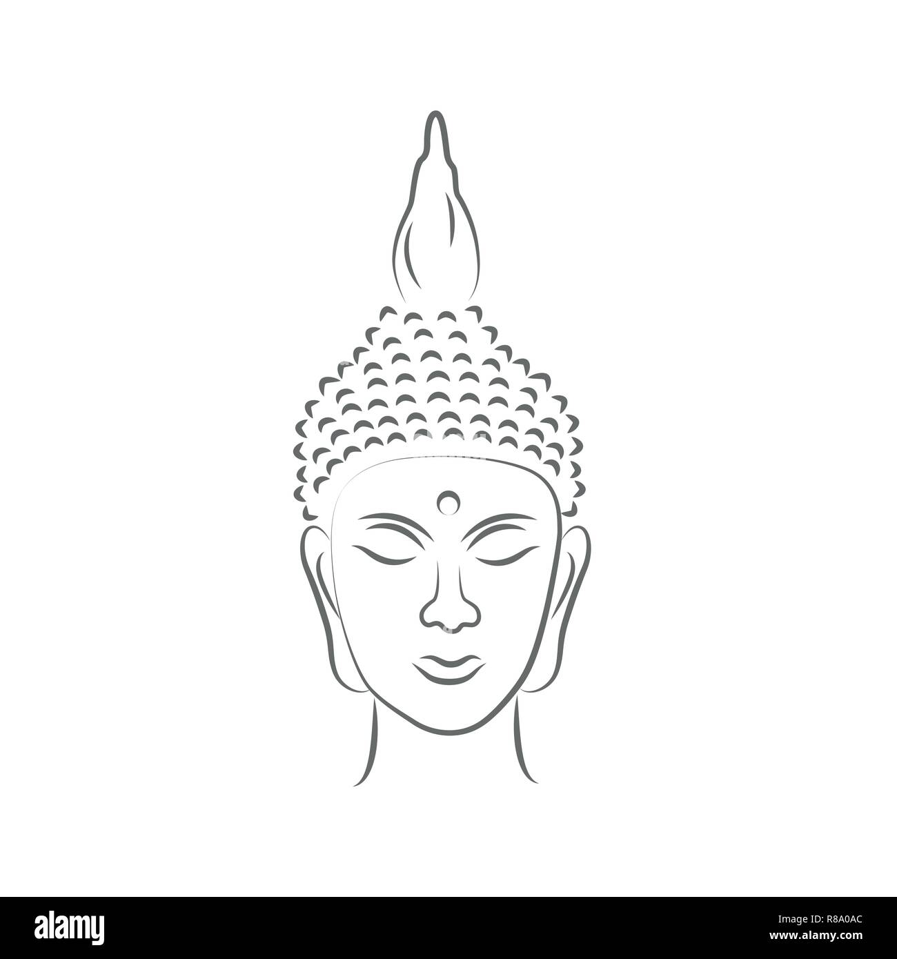 Dessin De Bouddha buddha head line drawing vector illustration eps10 stock