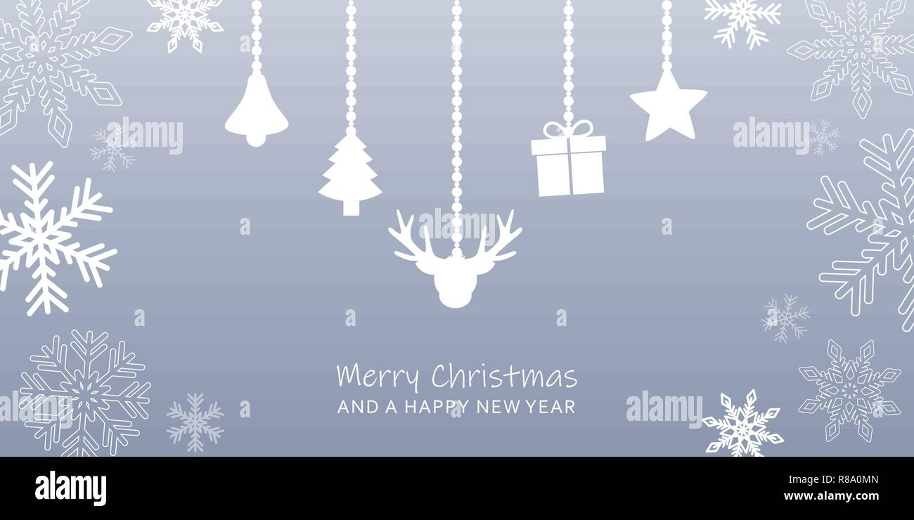 grey christmas greeting card with snowflake border and hanging decoration reindeer bell tree gift and star