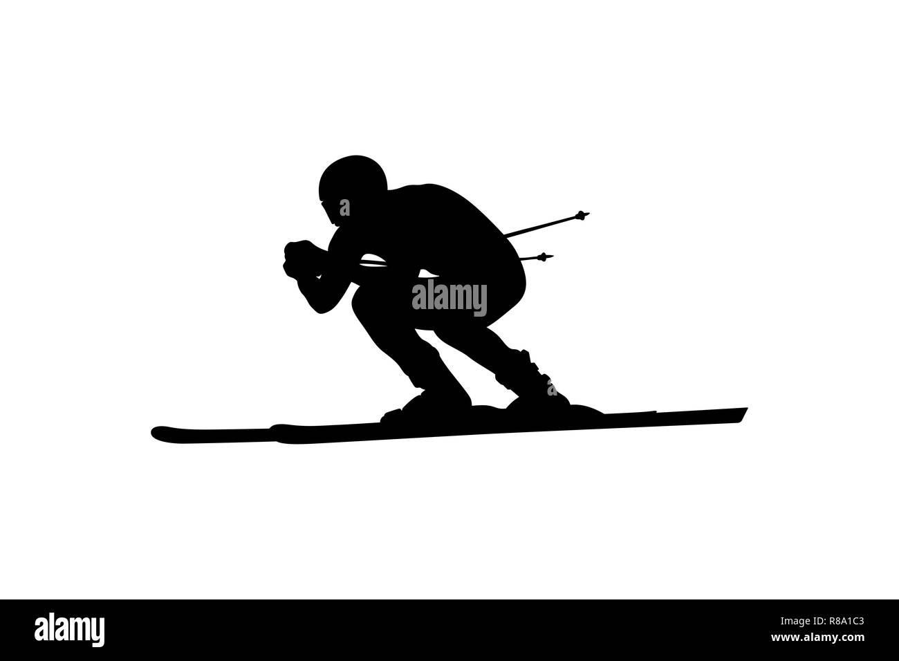 alpine skiing downhill skier athlete black silhouette - Stock Image