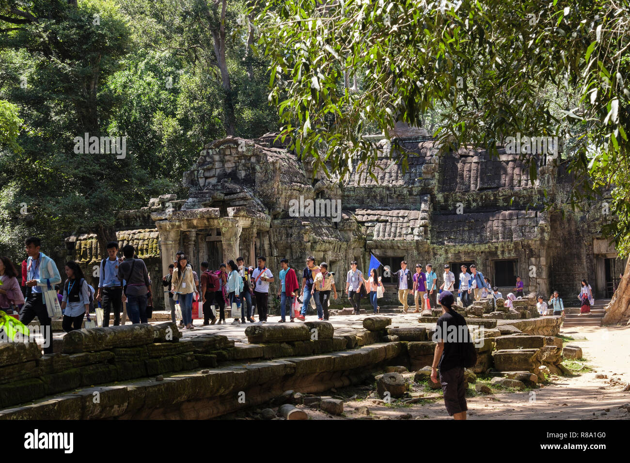 Large numbers of tourists at Ta Prohm Temple ruins in a jungle location. Siem Reap, Cambodia, southeast Asia Stock Photo