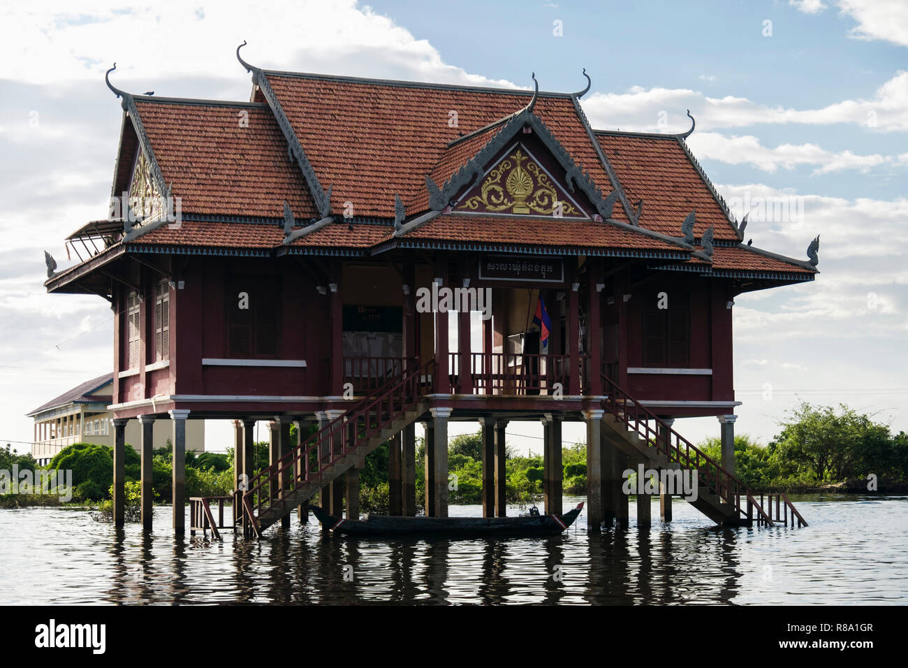 House on stilts in floating village in Tonle Sap. Kampong Phluk, Siem Reap province, Cambodia, southeast Asia Stock Photo