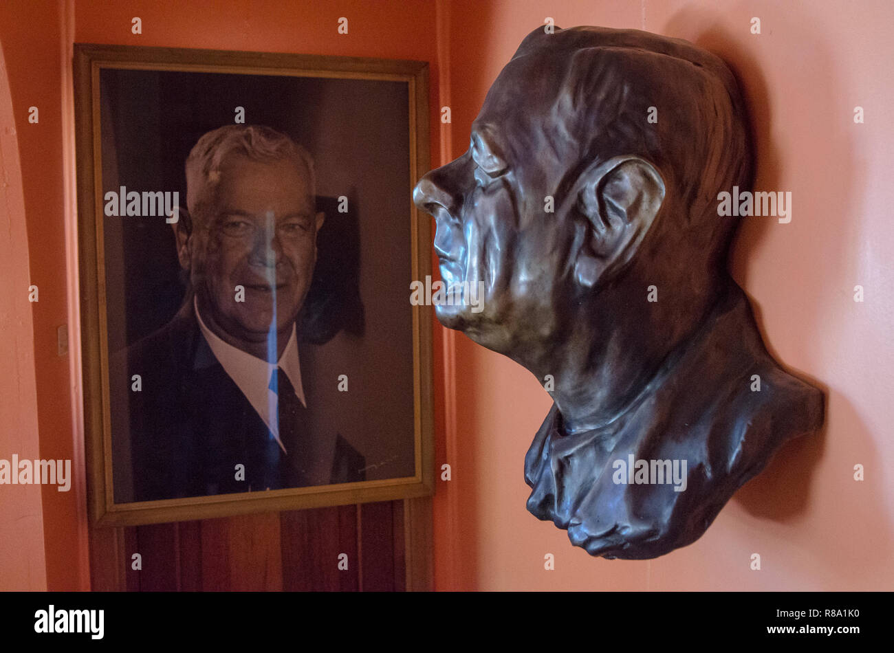 A bust and a portrait of of H.F. Verwoerd, the mastermind of Apartheid, is seen at the former house of Verwoerd's widow Anna, in Orania, the Northern Cape, Friday, December 13, 2013. Orania is an Afrikaner (only) town located along the Orange River in the Karoo. Photo: Eva-Lotta Jansson - Stock Image