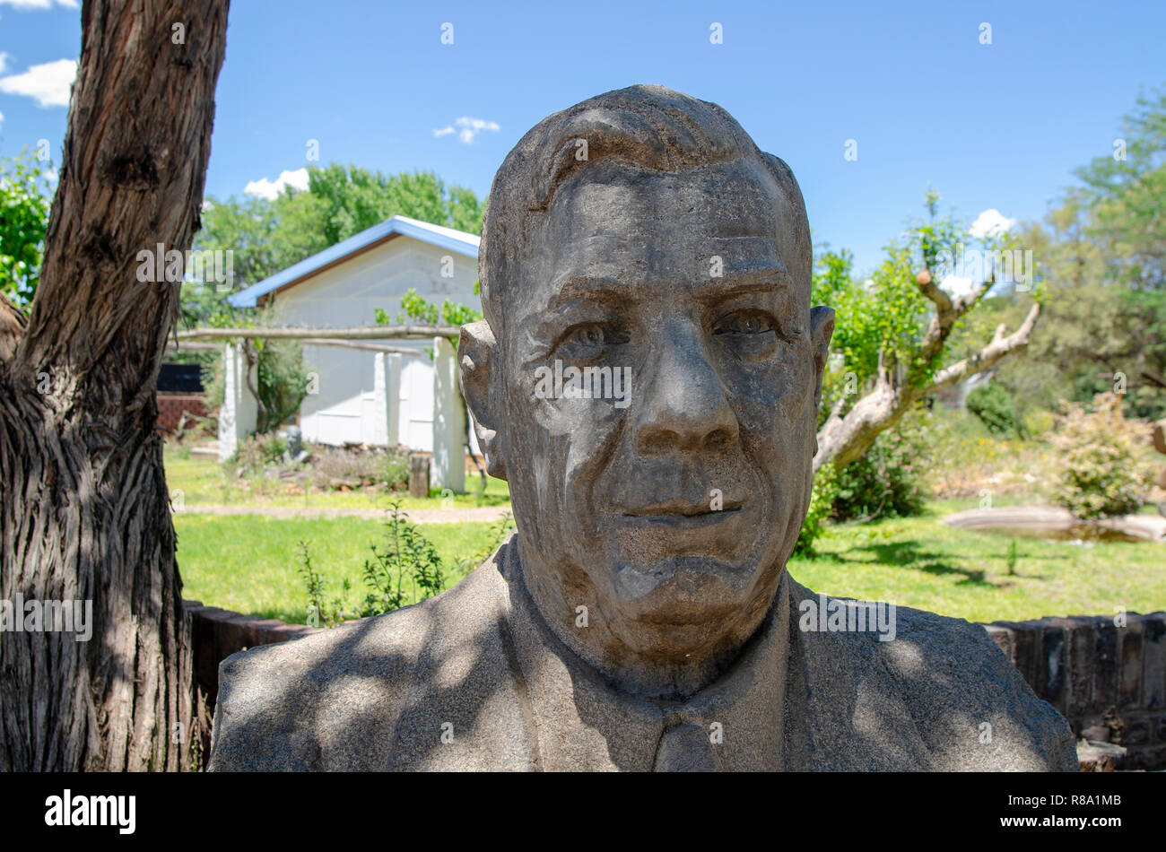 A bust of H.F. Verwoerd, the mastermind of Apartheid, is displayed near the entrance to Orania, in the Northern Cape, Friday, December 13, 2013. Orania is an Afrikaner (only) town located along the Orange River in the Karoo. Photo: Eva-Lotta Jansson - Stock Image