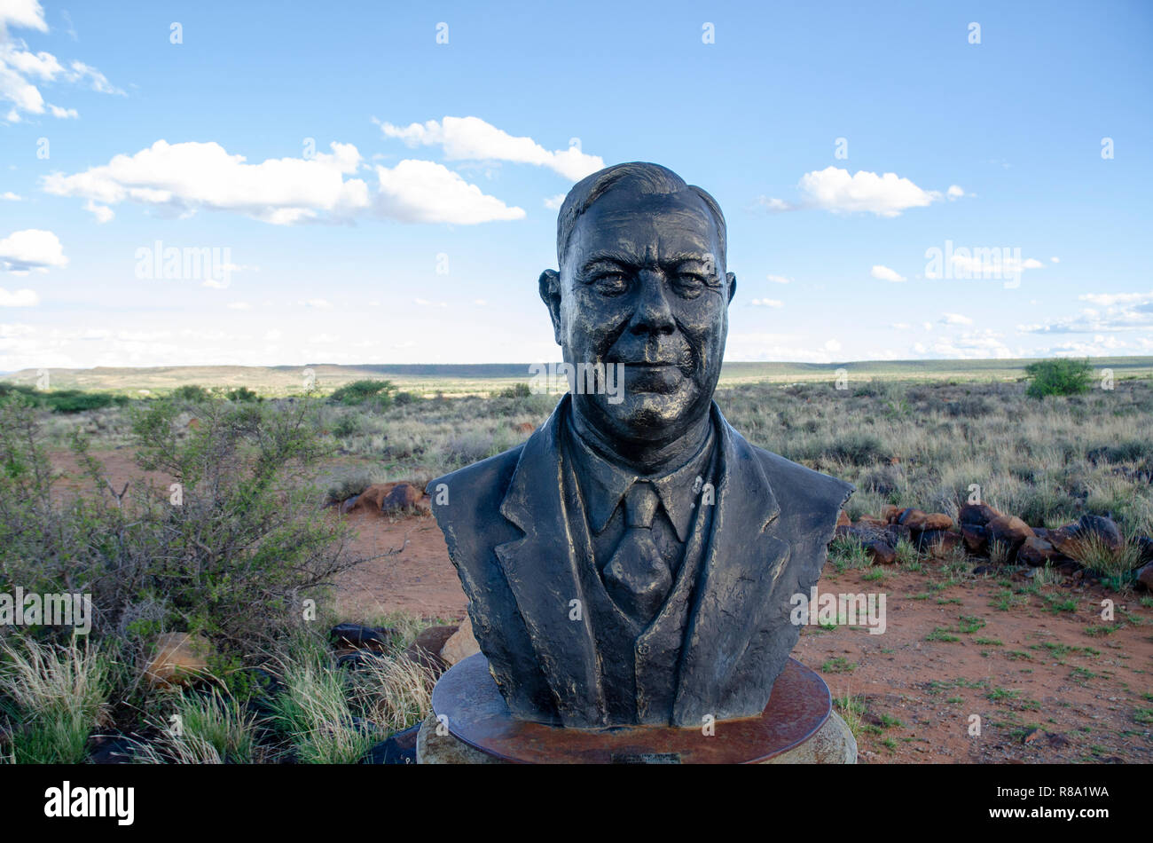 The bust of H.F. Verwoerd, the mastermind of Apartheid, stands on a hill in Orania, Northern Cape, Friday, December 12, 2013. As South Africa has been ridding itself of its painful past by removing the busts from various public places around the country, Orania has been collecting them, and built concrete pedestals to put them on. Orania is an Afrikaner (only) town located along the Orange River in the Karoo. Photo: Eva-Lotta Jansson - Stock Image