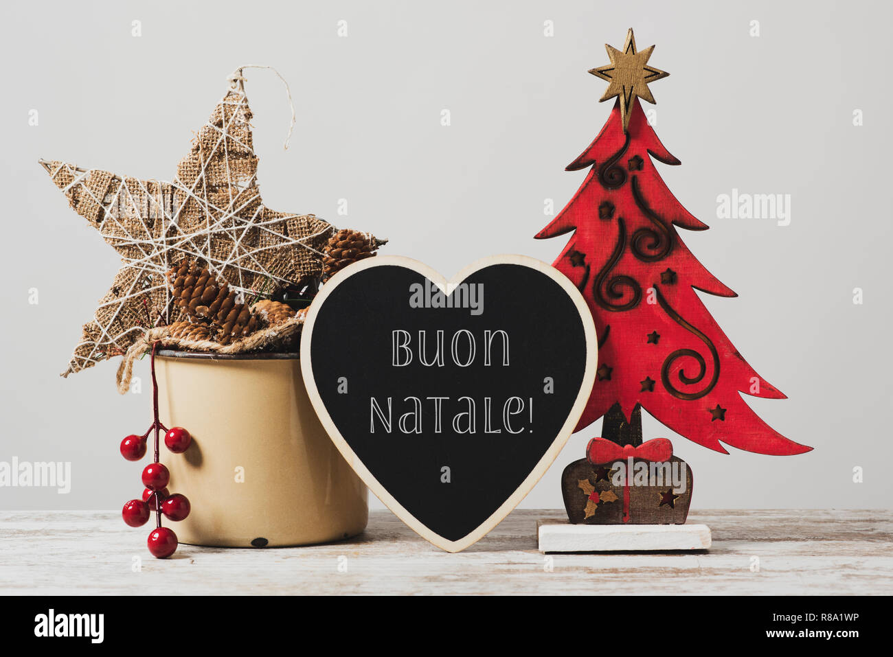 Buon Natale Ornament.Christmas Tree Some Cozy Ornaments In A Rustic Enamel Pot And A