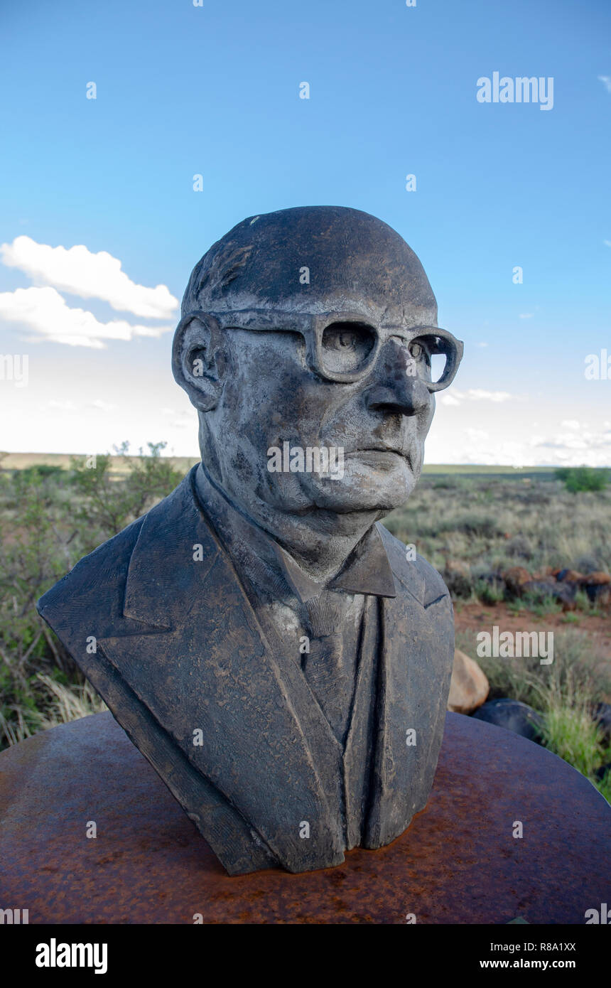 D.F. Malan stands among the busts of South African Afrikaner presidents and generals, H.F. Verwoerd, the mastermind of Apartheid, on a hill in Orania, Northern Cape, Friday, December 12, 2013. As South Africa has been ridding itself of its painful past by removing the busts from various public places around the country, Orania has been collecting them, and built concrete pedestals to put them on. Orania is an Afrikaner (only) town located along the Orange River in the Karoo. Photo: Eva-Lotta Jansson - Stock Image