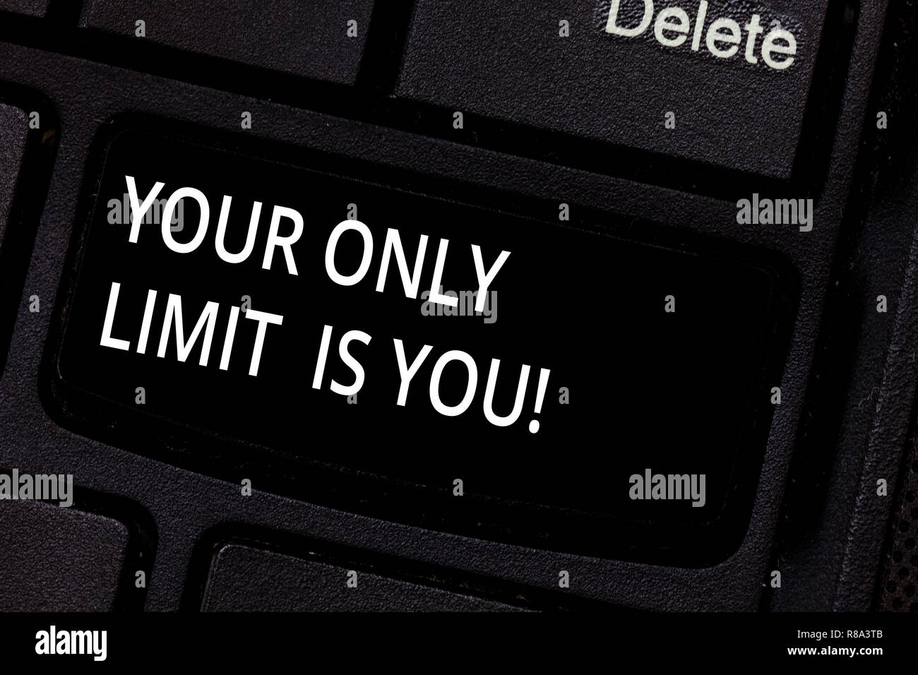 Handwriting text Your Only Limit Is You. Concept meaning You set your own limitations Motivation to keep going Keyboard key Intention to create comput - Stock Image