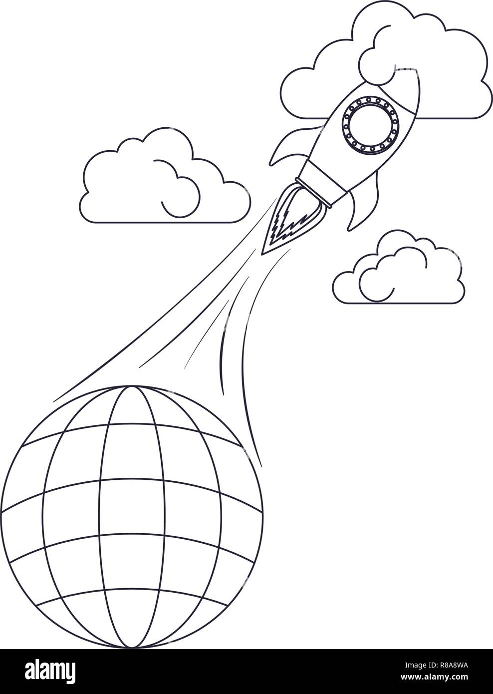 globe with lines and rocket isolated icon - Stock Image